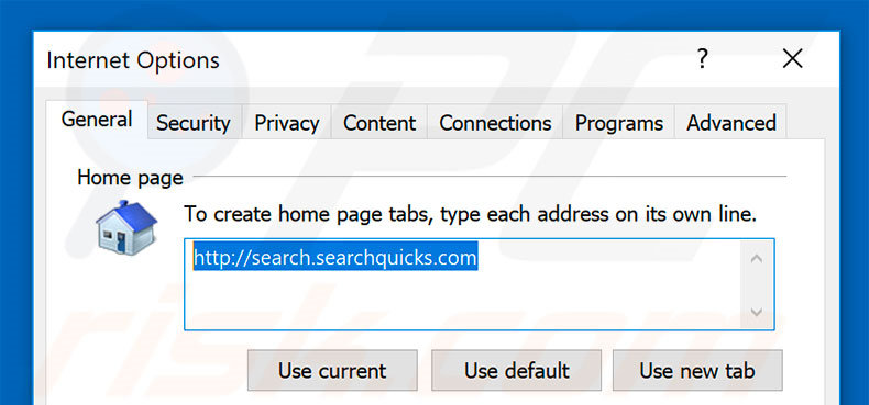 Suppression de la page d'accueil de search.searchquicks.com dans Internet Explorer