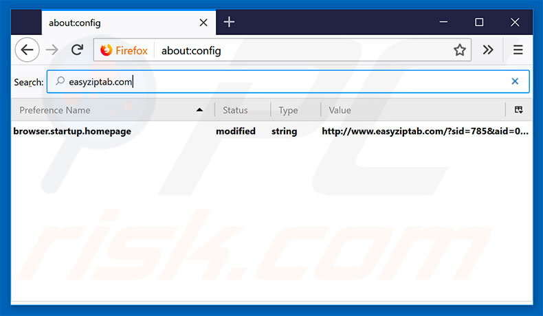 Removing easyziptab.com from Mozilla Firefox default search engine