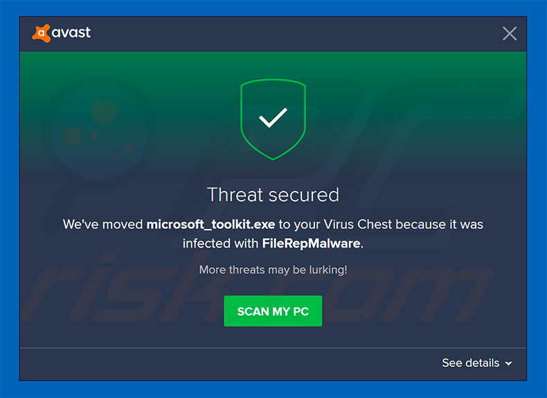 FileRepMalware supprimé par l'antivirus Avast