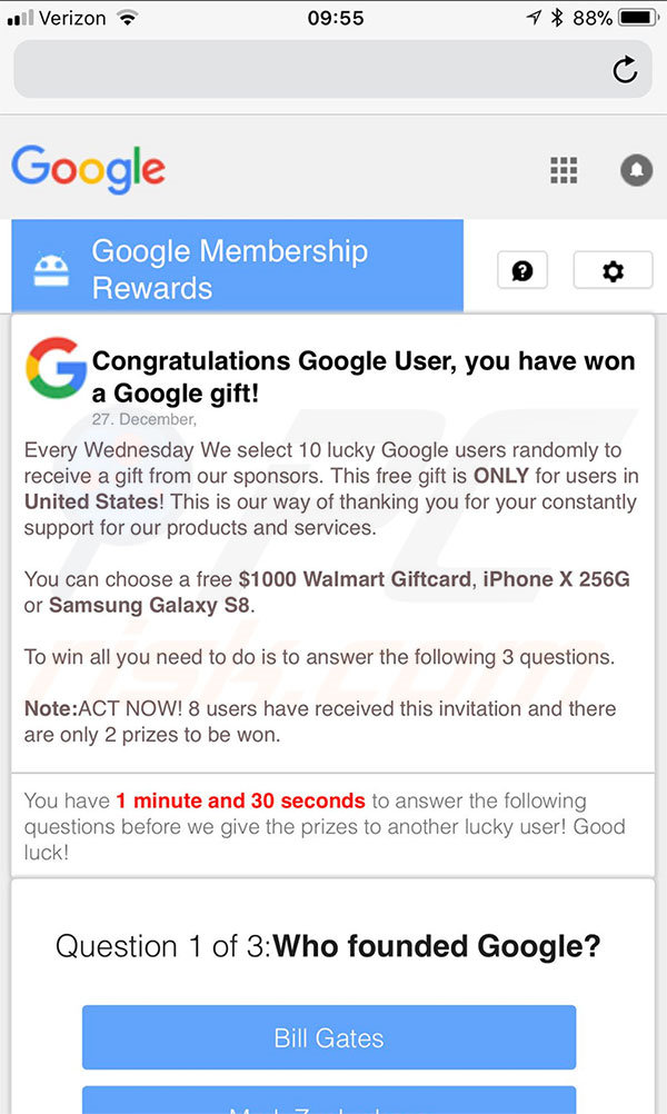 Version mobile d'You Have Won A Google Gift