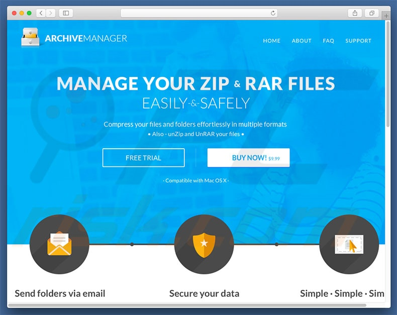Website promoting Zip File browser hijacker