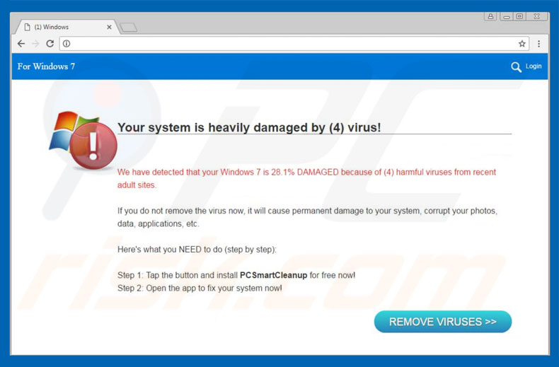 Arnaque Your System Is Heavily Damaged By (4) Virus