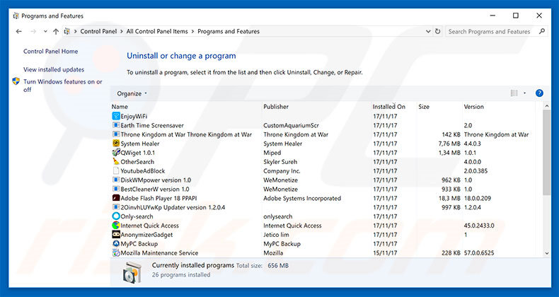 Windows Defender Security Center adware uninstall via Control Panel