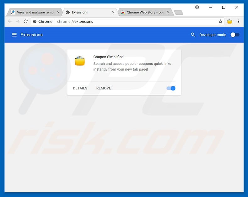 Suppression des extensions escrocs  dans Google Chrome étape2