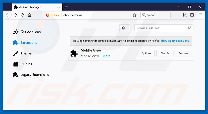 Suppression des extensions reliées à search.searchswift.co dans Mozilla Firefox