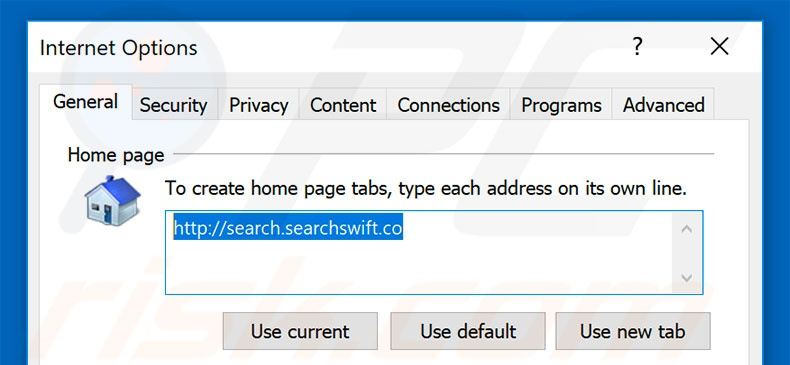 Suppression de la page d'accueil de search.searchswift.co dans Internet Explorer