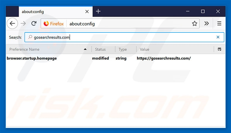 Removing gosearchresults.com from Mozilla Firefox default search engine