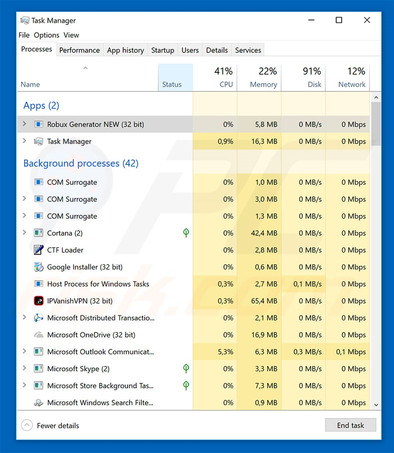 Roblox malware in windows task manager