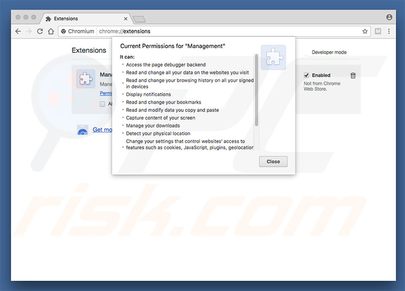 Extension escroc dans Chromium