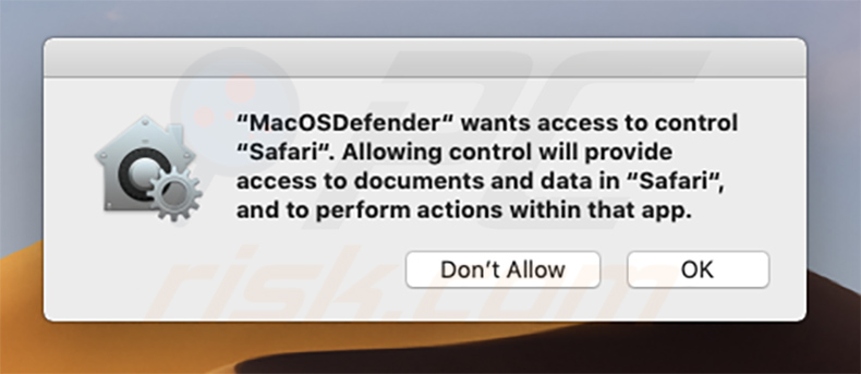 MacOSDefender affichant le pop-up