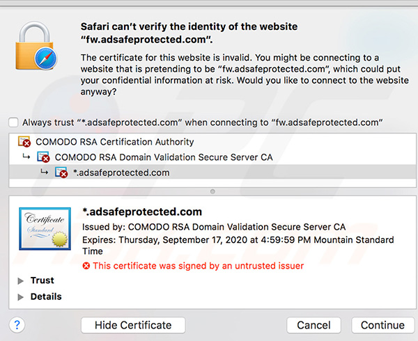 Safari can't verify the identity of the website fw.adsafeprotected.com error details