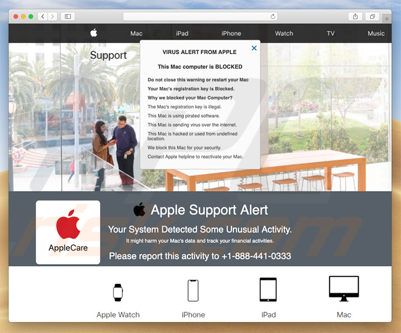 Pop-up de l'arnaque Apple Support Alert  (exemple 2)