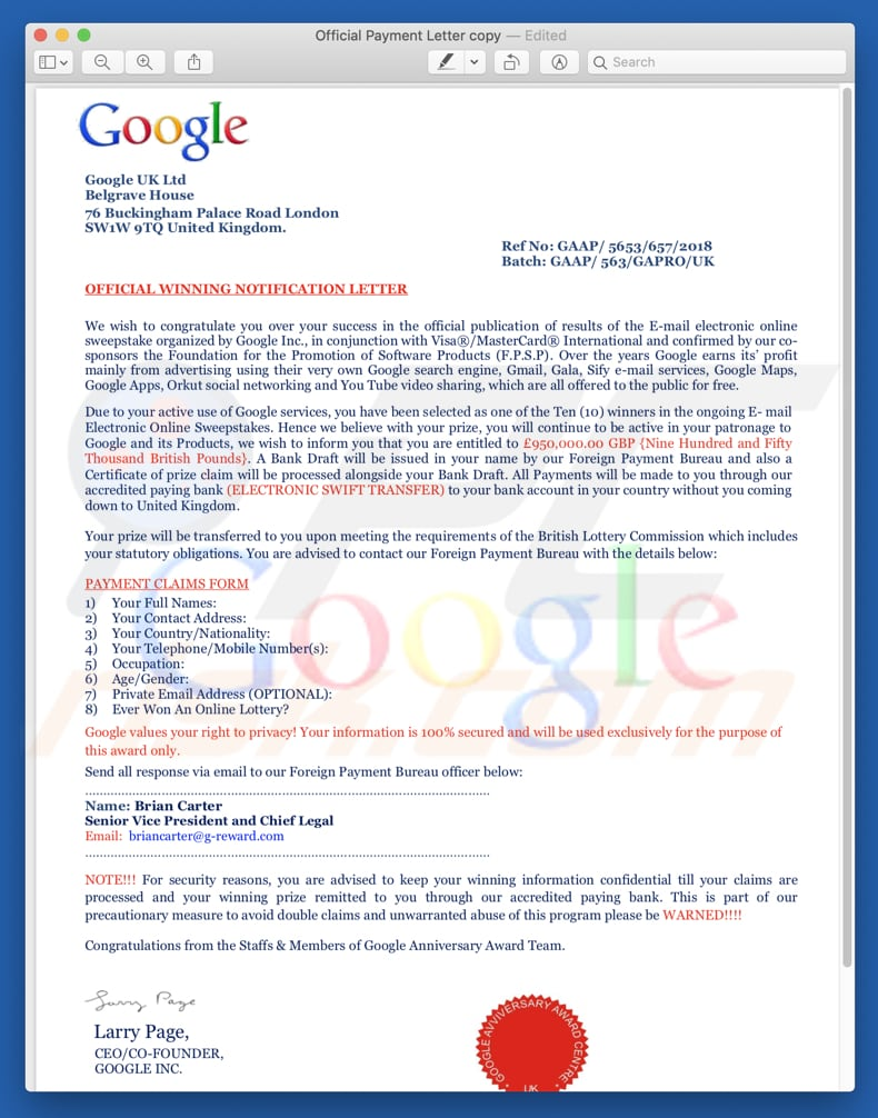 pdf file presented in Google winner scam