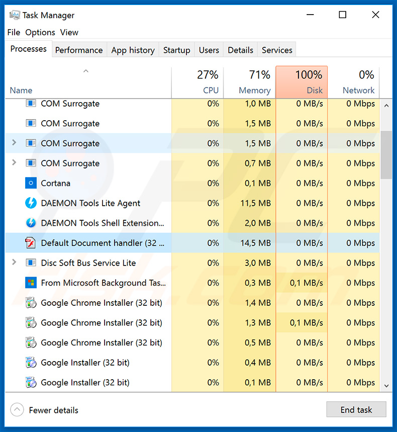 NanoCore RAT in Windows Task Manager