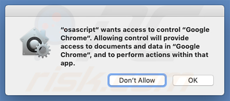 Osascript wants to control Google Chrome
