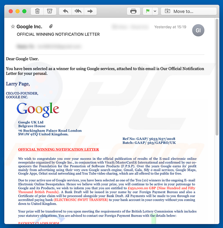 Google winner spam campaign