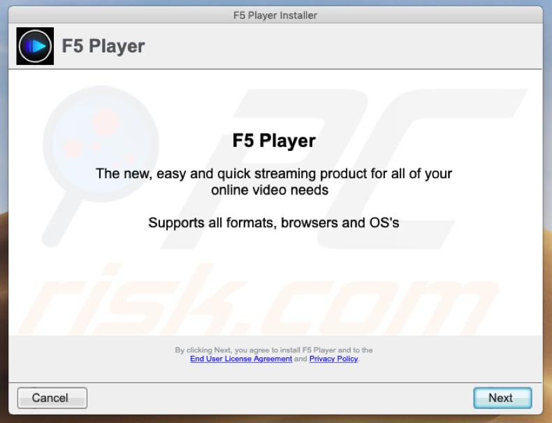 f5player setup promoting adware