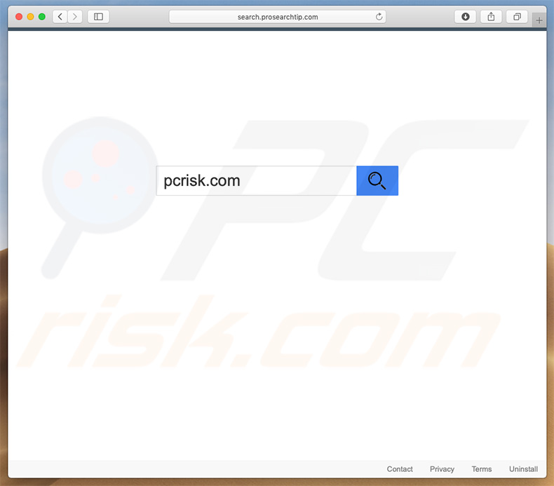 search.prosearchtip.com browser hijacker on a Mac computer