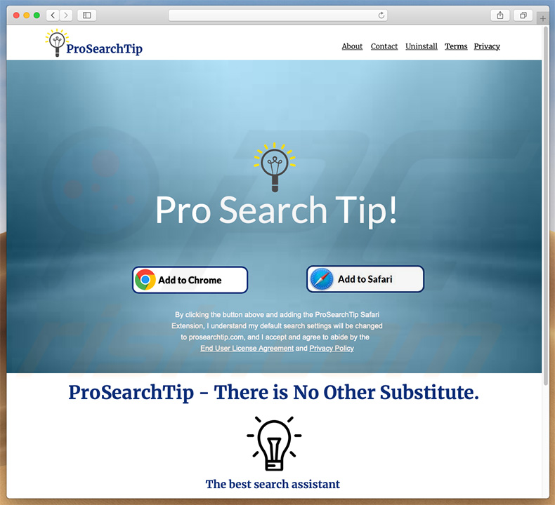 Dubious website used to promote search.prosearchtip.com