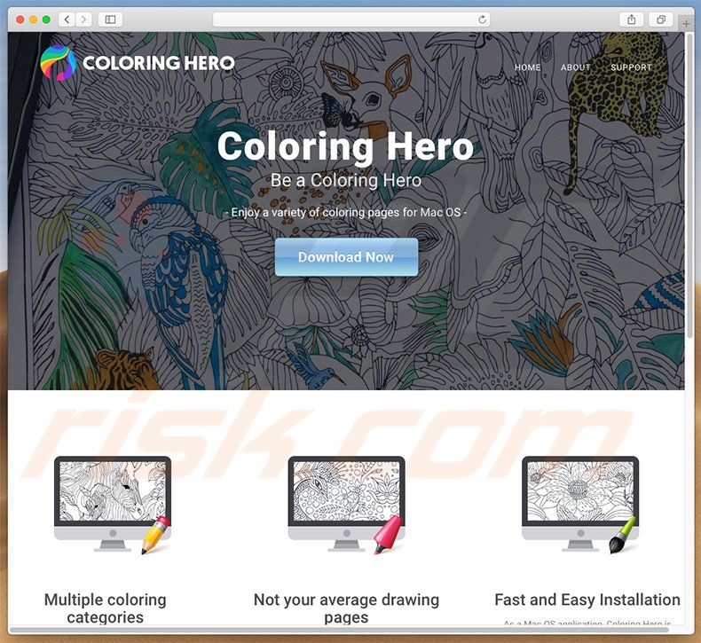 Dubious website used to promote search.coloringhero.com