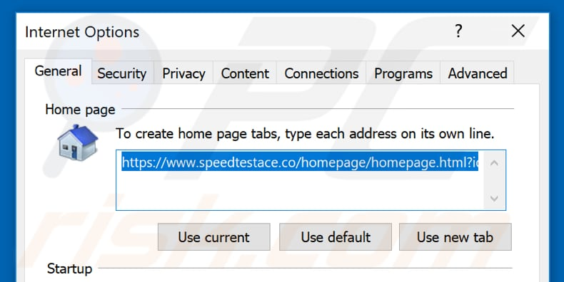 Removing speedtestace.co from Internet Explorer homepage