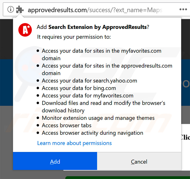 Official Search Extension by ApprovedResults browser permissions