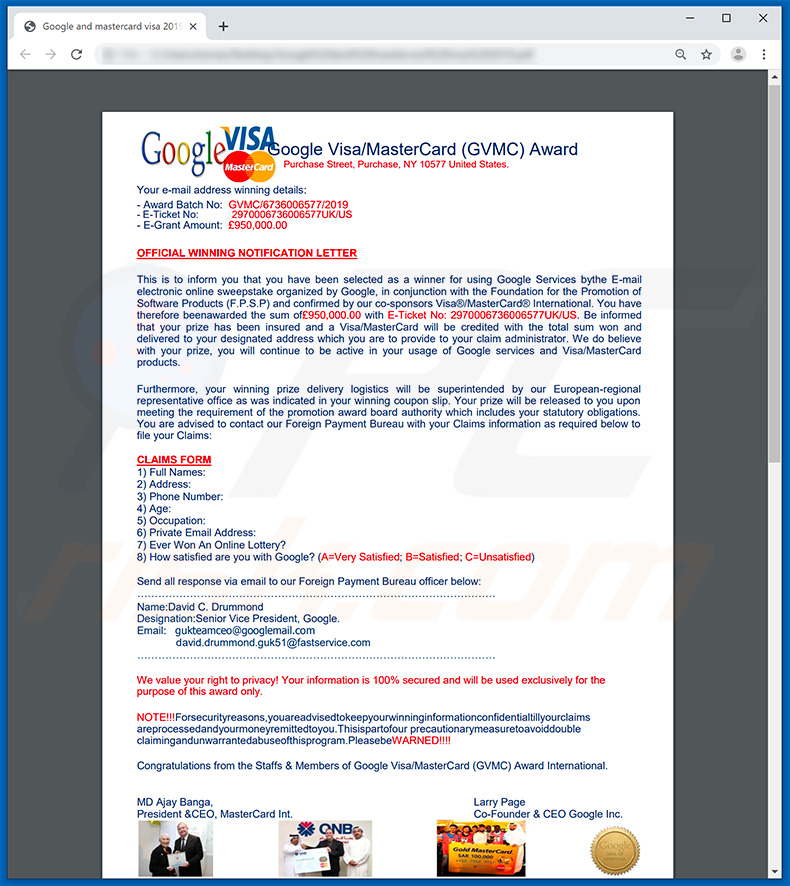 Google Winner email spam campaign attachment Official Winning Letter by Google and mastercard visa 2019.pdf