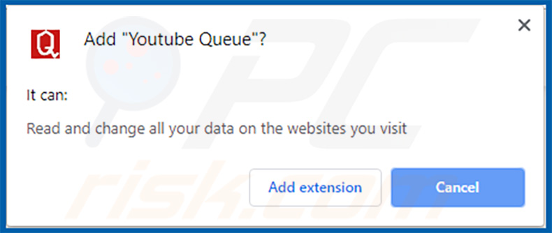 Youtube Queue extension warning