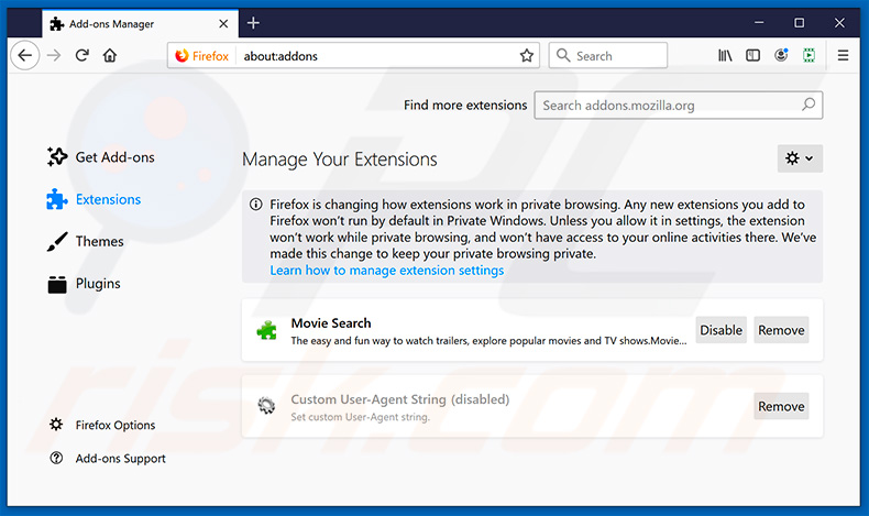 Removing splendidsearch.com related Mozilla Firefox extensions