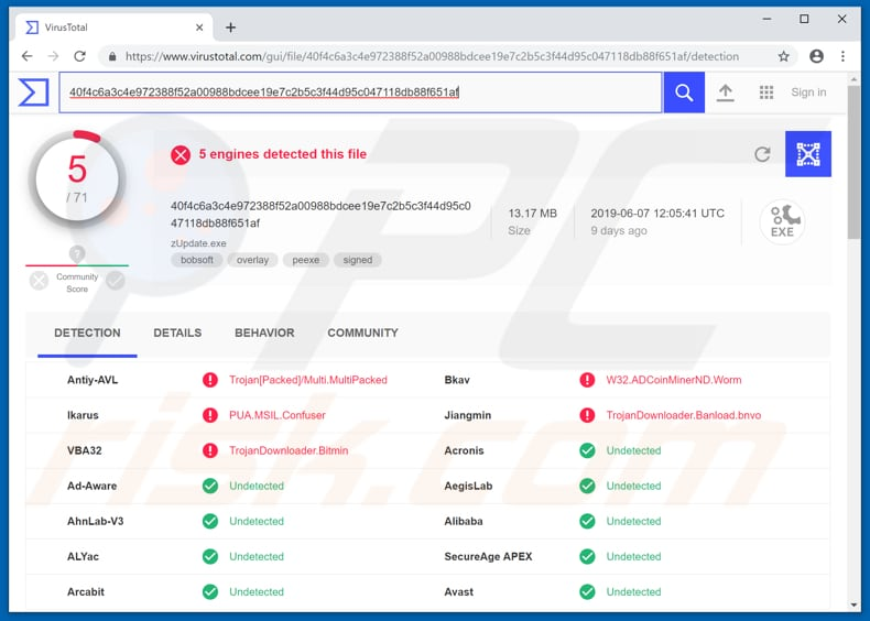 zupdater.exe detected as a threat in virustotal
