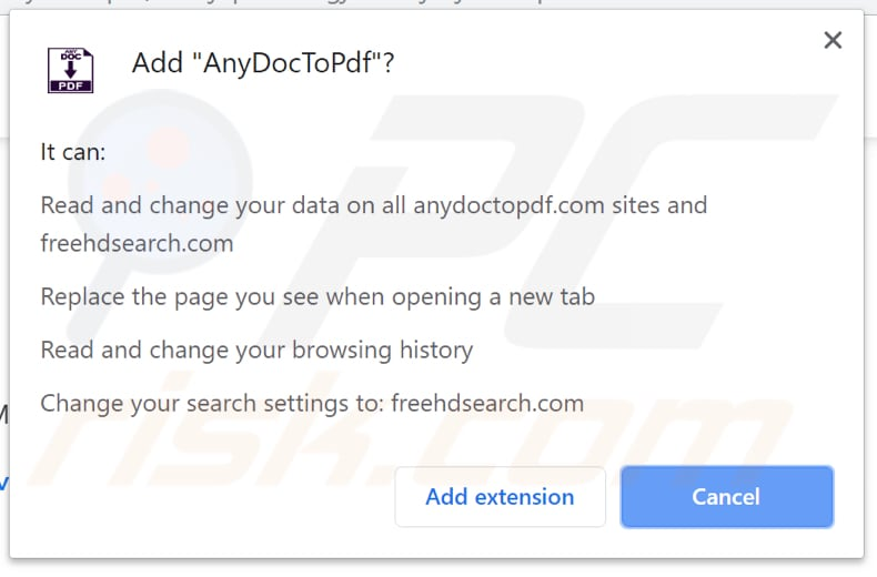 AnyDocToPdf download page asking for parmissions