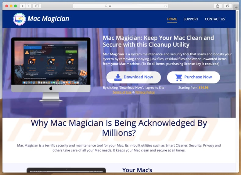 website promoting mac magician app