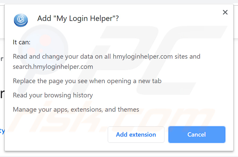 My Login Helper browser hijacker asking for permissions