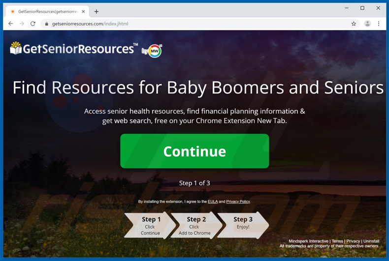 Website used to promote GetSeniorResources browser hijacker