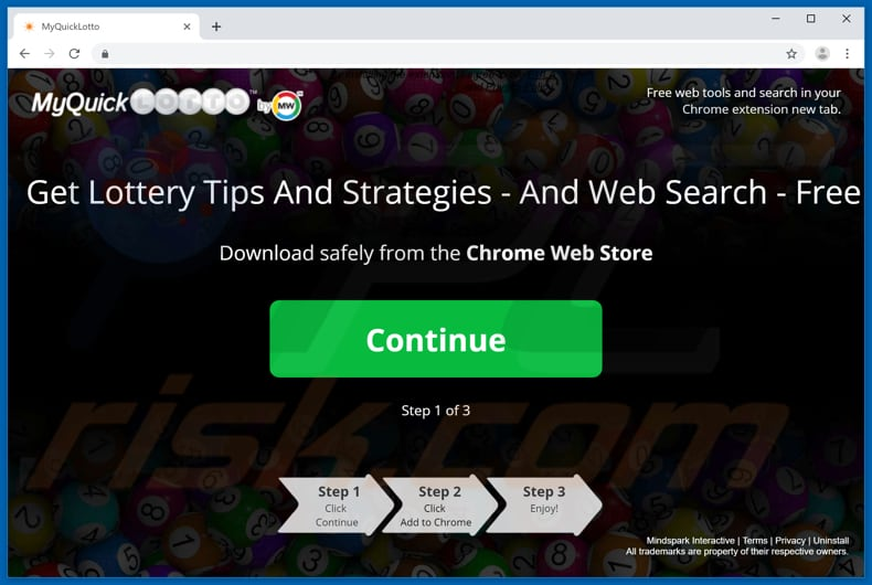 Website used to promote MyQuickLotto browser hijacker