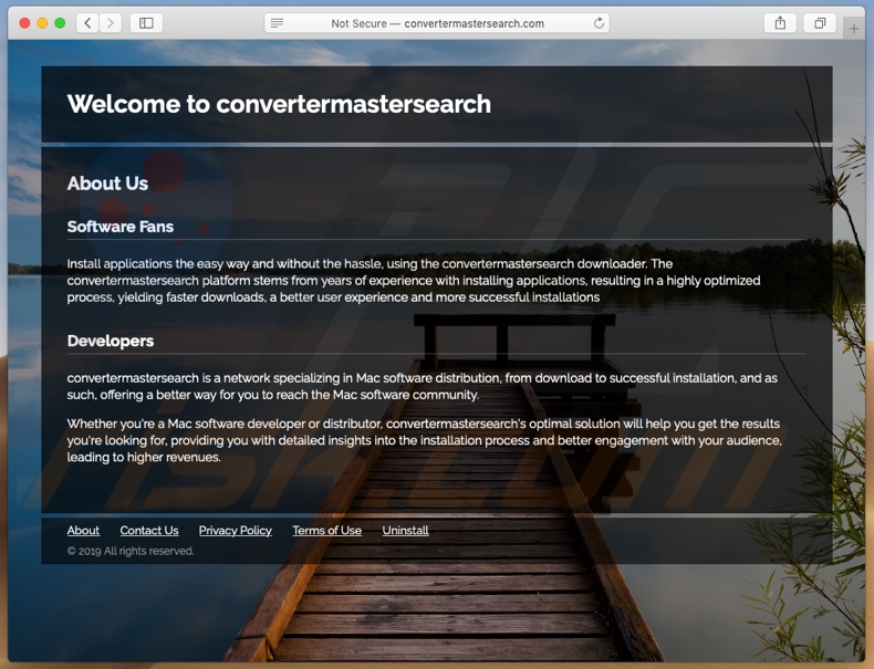 Dubious website used to promote Search.convertermastersearch.com