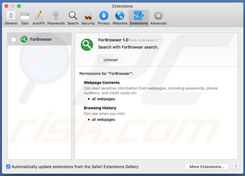 ForBrowser adware installed on Safari