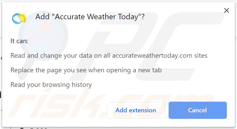 Accurate Weather Today asking for permissions on Chrome