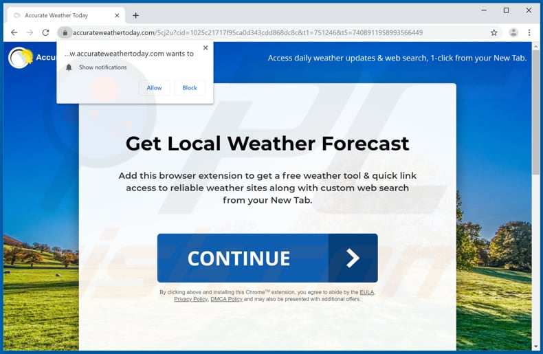 Website used to promote Accurate Weather Today browser hijacker