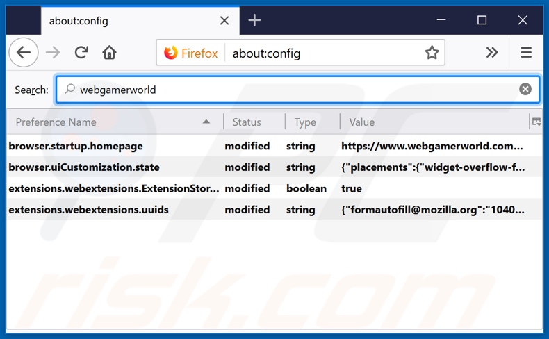 Removing webgamerworld.com from Mozilla Firefox default search engine