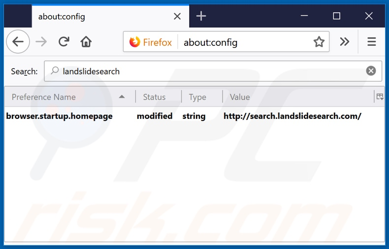Removing search.landslidesearch.com from Mozilla Firefox default search engine