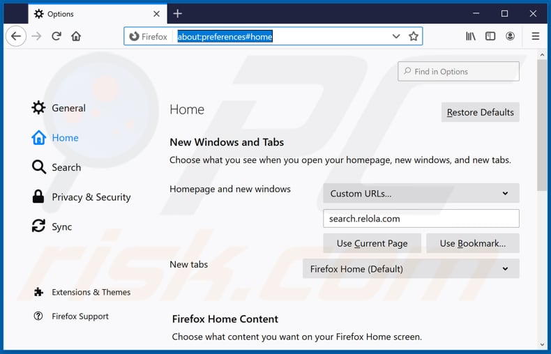 Removing search.relola.com from Mozilla Firefox homepage