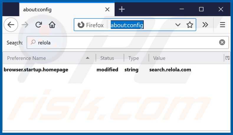 Removing search.relola.com from Mozilla Firefox default search engine