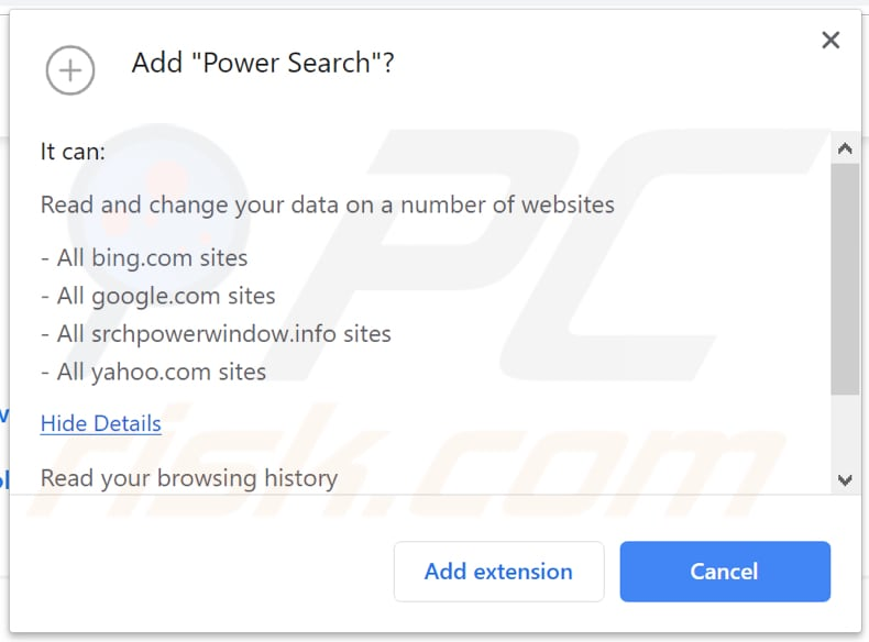 Power Search browser hijacker wants a permission to access and change various data