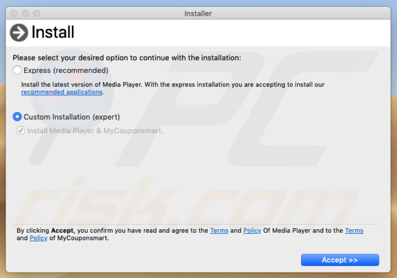 dialog box of a fake adobe flash player installer