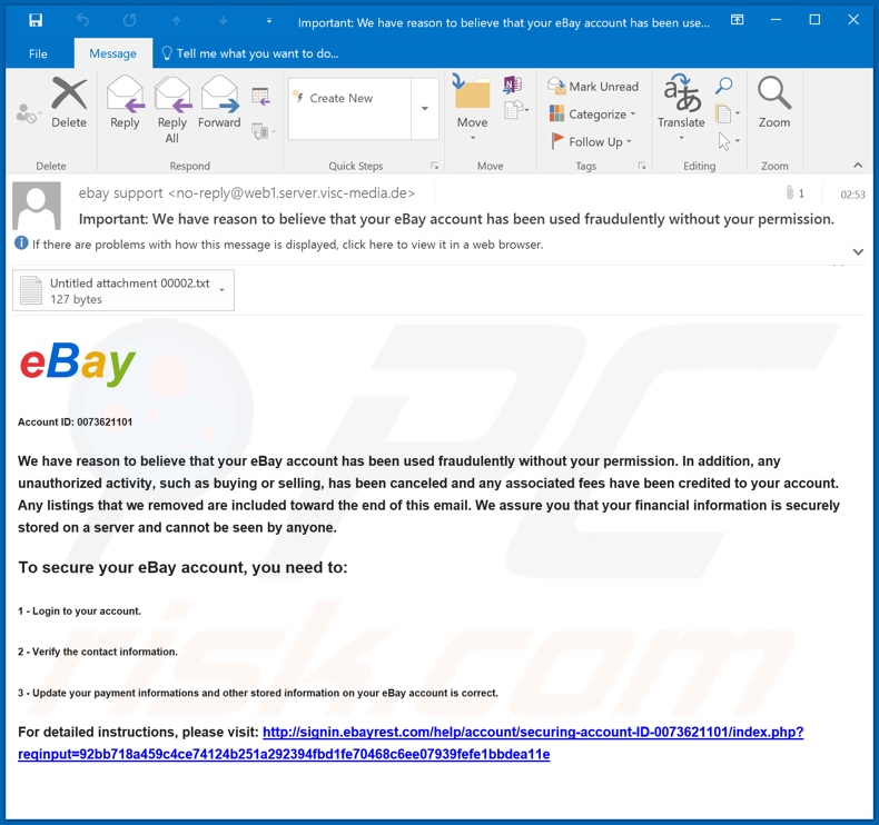 Campagne de spam eBay Email Scam