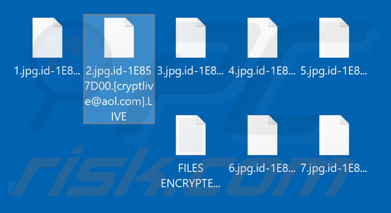 Files encrypted by LIVE ransomware (.LIVE extension)