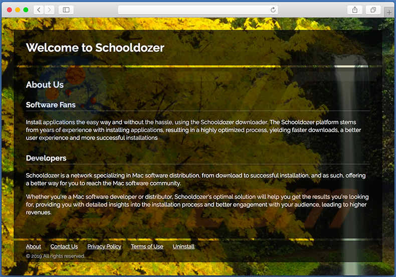 Dubious website used to promote search.schooldozer.com