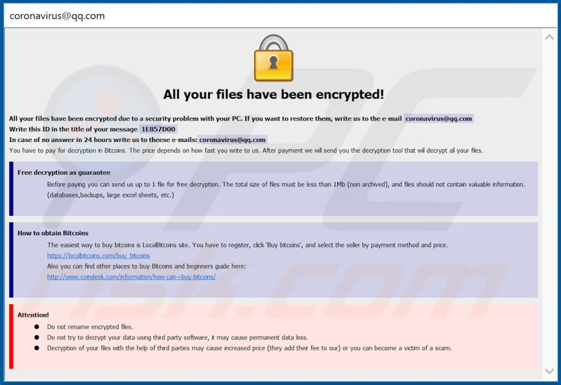 Ncov decrypt instructions (pop-up window)