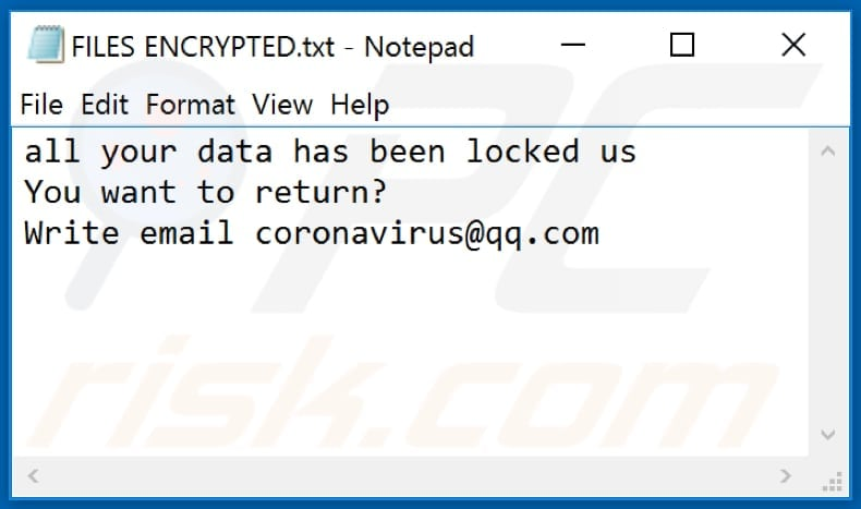 Ncov ransomware text file (FILES ENCRYPTED.txt)
